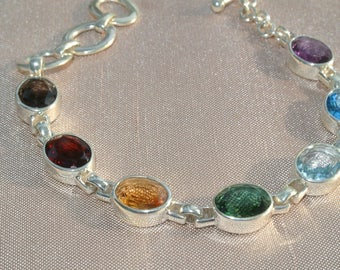 gorgeous 7 natural semi precious stones set in solid 925 Silver Bracelet