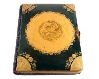 FREE SHIPPING: Vintage Antique Victorian Celluloid Photo Album - Embossed Cherub Cover - Velvet Back - Ornate Metal Clasp