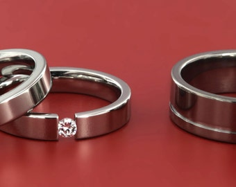 Three Piece Titanium Wedding Set With Diamond (His and Hers Engagement and Wedding Bands)7MM1ocg- 4f-tension-4f band