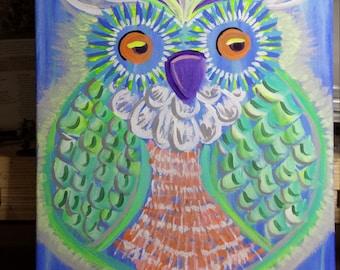 Owl Canvas Acrylic Painting
