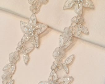 Ivory Beaded Organza Lace Appliques/Trim