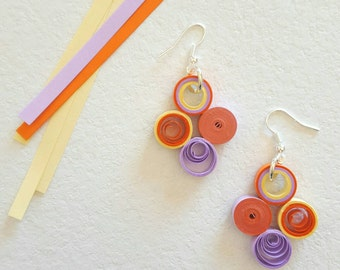 Paper quilling earrings, small circles, ROAR