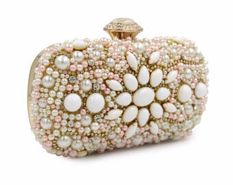 Golden Ivory and Pink Pearl Wedding Clutch Bag Bride Bridesmaid BAG14