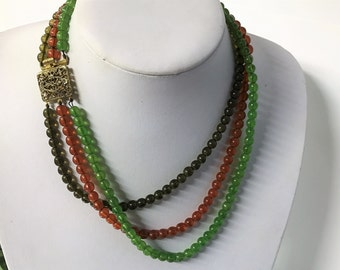 A Beautiful Vintage Multi Strand Beaded Necklace, Brown, Orange and Green