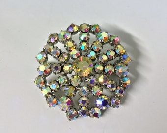 A Beautiful Sparkly Vintage, Aurora Borealis Crystal Brooch