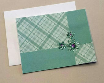Handmade Any Occasion Card / Turquoise Plaid / Scrapbook Paper / Card for Her / Sparkly Flowers / Thinking Of You / Flowers / Birthday