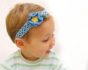 Blue Crochet Headband | 1 year to 4 year headband, Flower Girl Headband, Flower Headband, Toddler Floral Headband, Crochet Flower Headband
