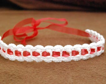 Crochet tie back headband with red ribbon, one of a kind fashion for your baby girl