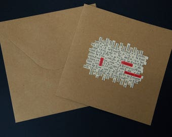"""Card mailing collage of text lines woven paper - crossword - """"love, always, every day"""""""