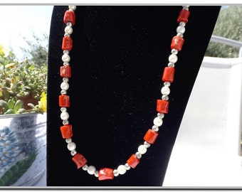 Long necklace Pearl and coral vintage root sections aged