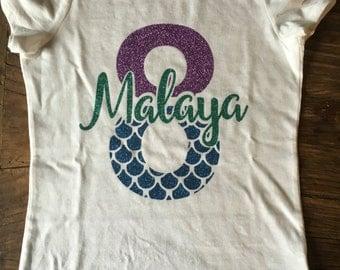 Custom Mermaid Birthday Girl shirt with glitter