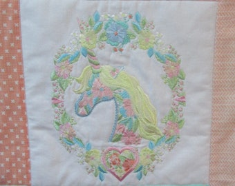"Machine Embroidered Baby Quilt, Crib Quilt, Baby Quilt, Handmade Baby Quilt - Unicorns - approx 42"" x 52"""