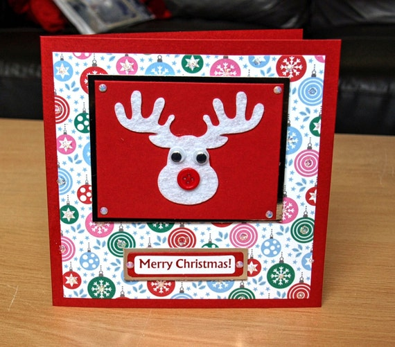 Reindeer Christmas Card Handmade - luxury personalised unique quality special UK