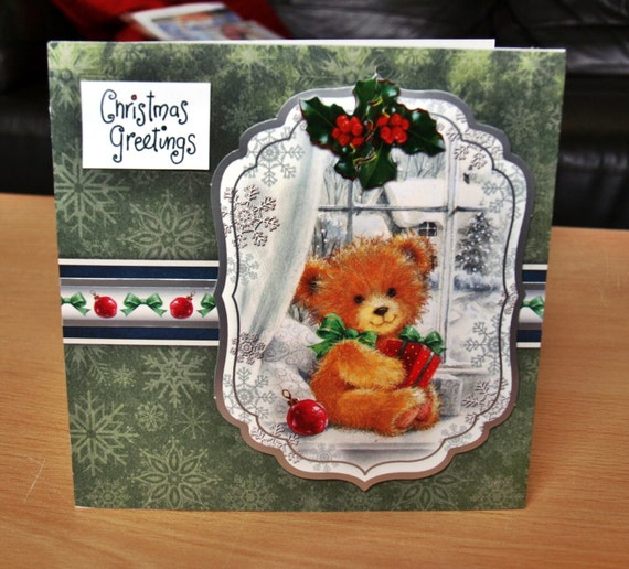 Teddy Bear Christmas Card Handmade - luxury personalised unique quality special UK