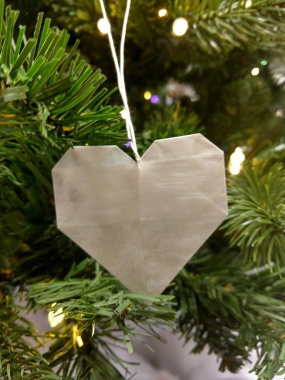 Origami Heart // Christmas // Ornament // Rear View mirror // Accessories // Stocking Stuffer