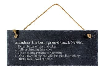 Engraved Slate Plaque - Definition of the Best Grandma and the Best Grandma - Hanging Door Sign - Gift for Grandparents