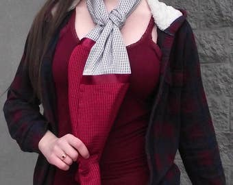 Silver and Cranberry Silky Scarf