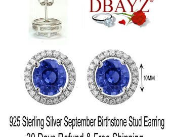 925 Sterling Silver Sapphire Halo Stud Earring With Cubic Zirconia Free Shipping By Dbayzcom