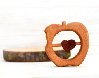 Wood teether, Wooden toy apple, Chew toy, Baby rattle, Wood teething toy, Teether for newborn, Teething Montessori and Waldorf inspired toy