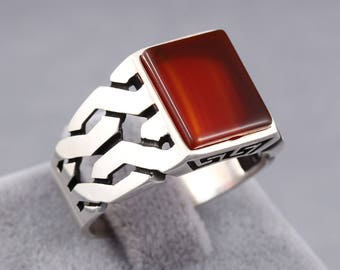 Red Ruby Stone 925 Sterling Silver Men's Ring Knitting Design Handmade Turkish Jewelry Size 7 - 12.5