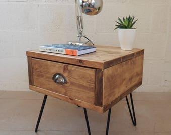 Handmade Rustic Bedside / Nightstand Side Table Industrial Urban