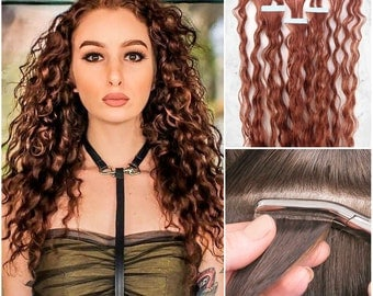Tape in extensions etsy curly tape in extensions 100 remy high quality human hair extensions 6 natural pmusecretfo Choice Image