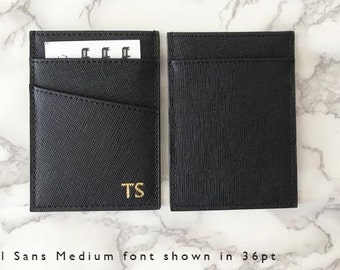 SALE - Personalised Monogrammed Women's Or Men's Card Holder in Black Saffiano Leather Slim Wallet
