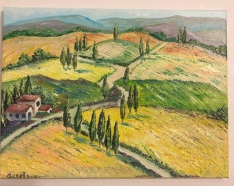 Tuscan (Italy), original oil painting on stretched canvas 12/16 inch