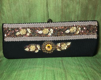Vintage, Hand Decorated, CLUTCH by CARON of Houston Texas