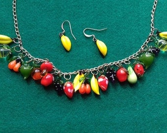Vintage Glass Fruit Necklace and Banana Earrings
