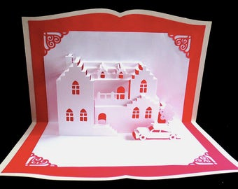 Pop-up Card Pop Up 3D Greeting House Warming Moving New Home Kirigami Origami Car Home Sweet Home New House Real Estate Marketing Realty
