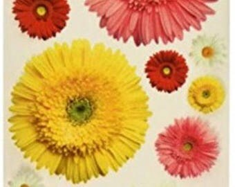 Glitter Rub-Ons | Paper House  | Mixed Gerbera Daisy | For Craft Projects and Room Decor