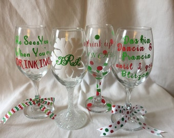 Wine Glasses 4 Count Set Christmas Themed