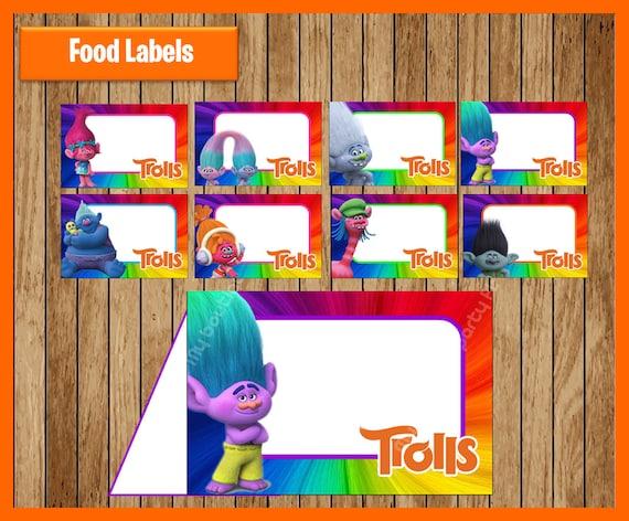 Trolls Food Tent Cards Instant Download Printable Trolls