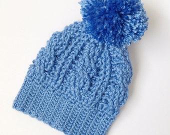 Newborn Beanie//Baby Boy Beanie//Beanie with Pom//Crochet Baby Hat//Baby Beanie