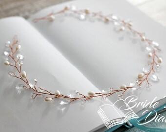 Pearls and Crystals Bridal Wreath, bridal headband, wedding rose gold hair vine