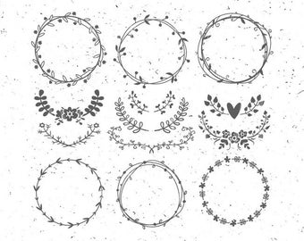 Circle monogram frames svg Flower Monogram svg Leaf circle monogram frames svg Rose svg file Leaf wreath svg Vintage circle frame boho svg