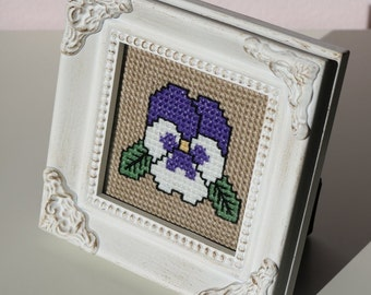 Framed Cross Stitch Pansy Flower