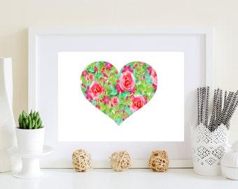 Heart Art Print - Floral heart decor, heart artwork, shabby chic heart, digital heart, flower heart art, Valentines art, couples gift