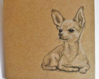 Handdrawn Chihuahua Gift Card for Dog Owner, Small Dog Greetings Card, Kraft Gift Card, Original Dog Artwork Card, Just to Say Dog Card