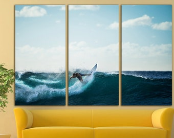 Surfing canvas Surfing wall decor Surfing wall art Surfing sport art Sport wall Sport Wall Art Large Canvas Print Decor