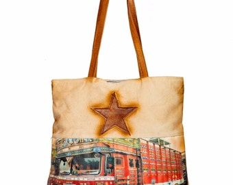 Canvas and leather tote with colourful Indian Truck printed for the traveller - Eco Friendly, Reusable Grocery bag, Strong designer bag