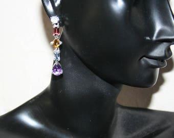 Original earrings in Sterling Silver 925 natural gemstones
