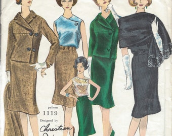 1960s Vintage VOGUE Sewing Pattern B34 SUIT JACKET Skirt Blouse Scarf (1382) Christian Dior 1119