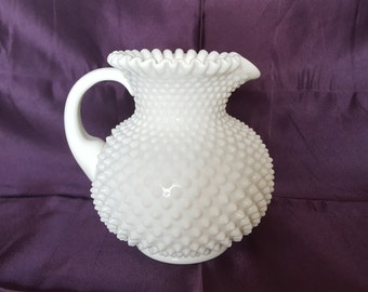 Vintage Fenton Hobnail Milk Glass Pitcher with Hand Applied Handle