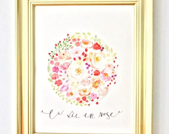 La Vie En Rose Watercolor Print
