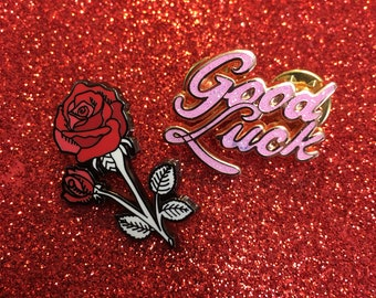 Good luck glitter enamel pin