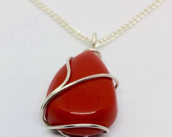 Red coral necklace one of a kind