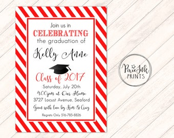 Red Graduation Party Invitation, Red Stripe Graduation Invitation, Simple Graduation Invite, Class of 2017 Grad Printable