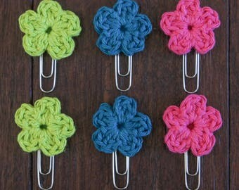 Crochet Summer Flower Bookmarks of 6 (paper clips, book marks)